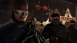 Hugo Strange's icy glare over Arkham City