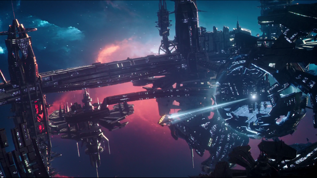 File:The Waverider locked in to the Vanishing Point's tractor beam.png