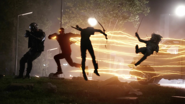 File:Wally West using his super speed to save Green Arrow and The Flash.png