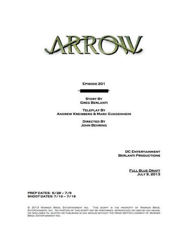Archivo:Arrow script title page - City of Heroes.png