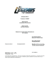 DC's Legends of Tomorrow script title page - Camelot 3000