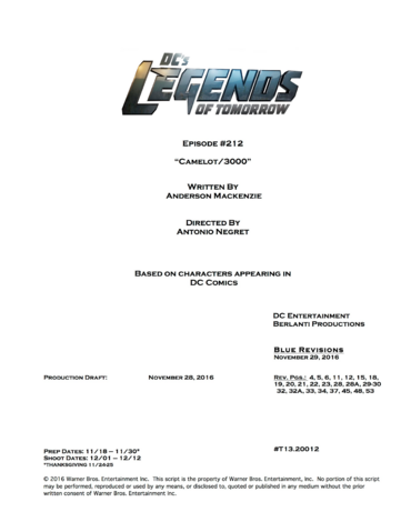 File:DC's Legends of Tomorrow script title page - Camelot 3000.png