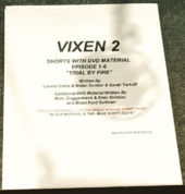 Vixen script title page - Trial by Fire + DVD material