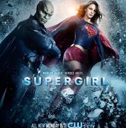 Supergirl season 2 poster - Worlds clash. Heroes unite.