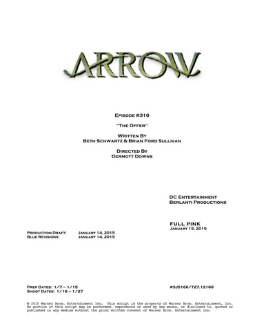 Archivo:Arrow script title page - The Offer.png