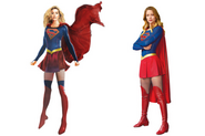 Supergirl costume concept sketch side by side with official costume