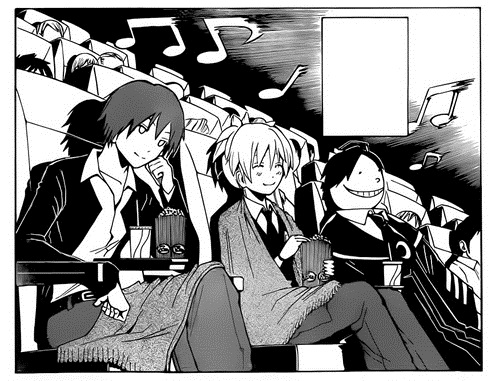 File:Korosensei, Karma and Nagisa watching movie.jpg