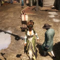 Aveline met een bediende die de kleren draagt