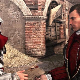 Ezio overhandigt de gecodeerde brief aan Machiavelli