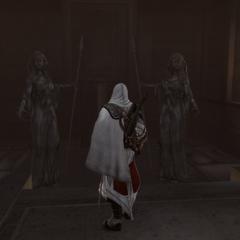 Ezio ontdekt de ingang van de kerker