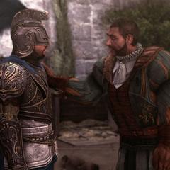 Bartolomeo bedankt Ezio voor zijn hulp.