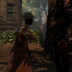 Een slaaf vertelt Aveline over de kapitein