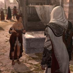 Ezio verbant Giuletta uit de Rosa in Fiore.