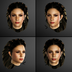 Claudia's gezichtsmodel.