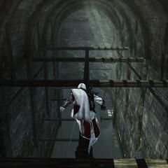 Ezio baant zich een weg door het vaarwater.