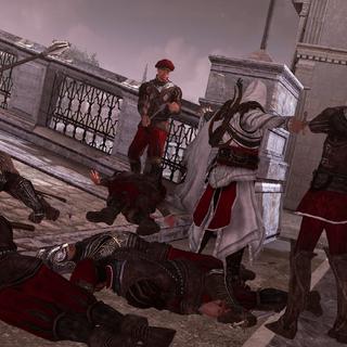 Ezio wordt geconfronteerd door de wachters van de Borgia's