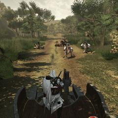 De wachters van de Borgia's achtervolgen Ezio.
