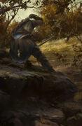Concept art of Connor stalking a Deer
