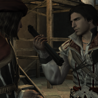 Ezio laat Leonardo de Codexpagina's zien.