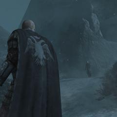Leandros bekijkt een gewonde Ezio