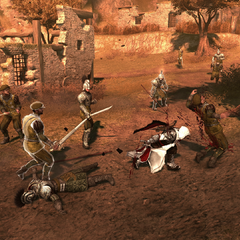 Ezio vecht met de Spaanse soldaten.