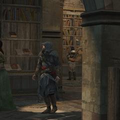 埃齐奥和索菲亚在据点的图书馆