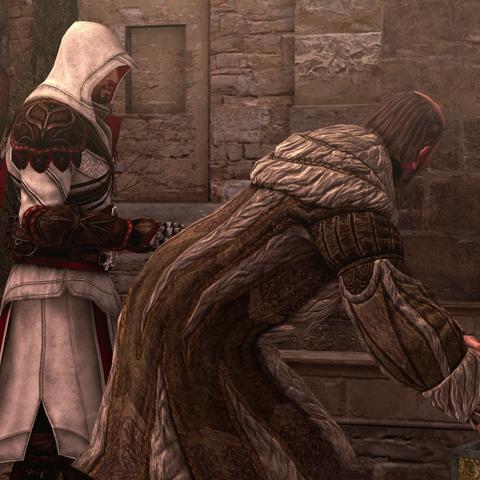 Ezio zegt tegen Egidio dat hij rapport moet uitbrengen aan Maria over de stadspolitiek.