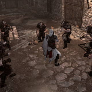 Ezio bestrijdt een groepje volgers onder het Colosseum.