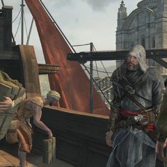 Ezio kijkt naar <a href=