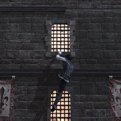 Ezio klimt naar zijn vader.