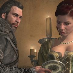 埃齐奥向索菲亚展示马西亚夫之钥