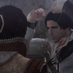 Ezio geeft zijn hanger aan Cristina