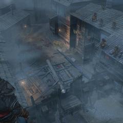 Ezio bekijkt de aanval vanaf het dak