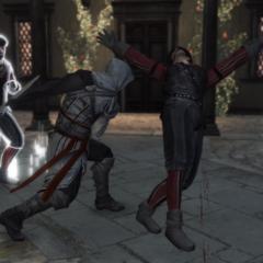 Ezio vecht tegen de wachters.