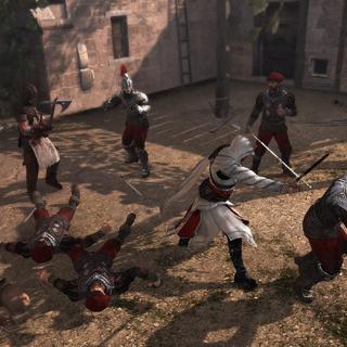 Ezio vecht met de wachters van Il Carnefice