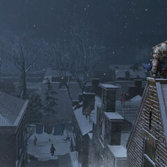 康纳在纽约屋顶躲避卫兵的追逐