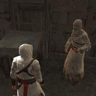Altaïr praat met de informant.