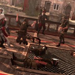 Ezio vecht met de slavenhandelaars