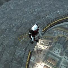 Ezio bovenop het Pantheon.