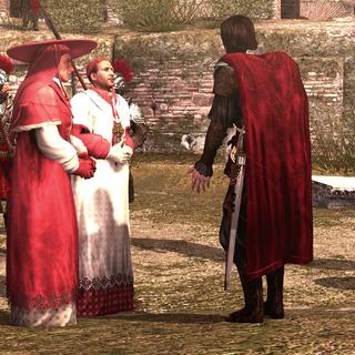 Cesare praat met Georges en een andere kardinaal.