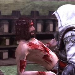 Pietro en Ezio bij het kraampje van de arts.