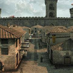 De straten van Monteriggioni.