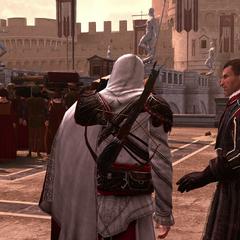 Machiavelli herinnert Ezio aan zijn missie
