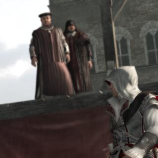 Ezio wordt ontwapend.