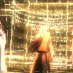 Jupiter, Minerva and Juno in een hologram van de Grote Tempel