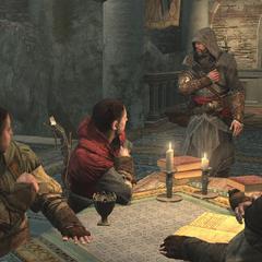 Ezio begroet de Assassijnen