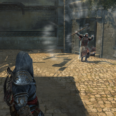 Ezio throwing a bomb at a guard