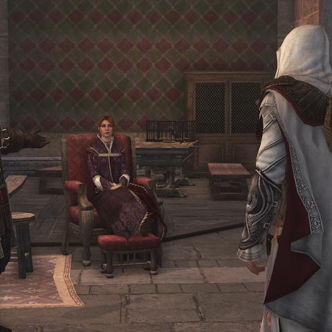 Ezio meldt Cesares en Rodrigo's afwezigheid.
