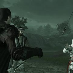 Mario geeft Ezio een zwaard.
