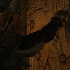 Edward unlocking the secret door